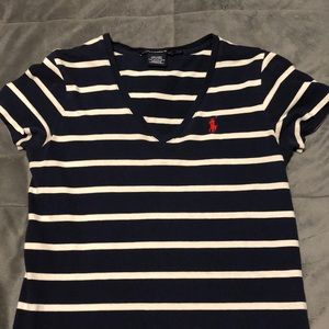 Ralph Lauren navy blue and white striped tee